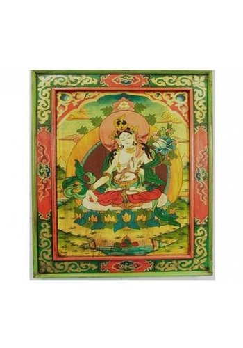 Yogi & Yogini naturals Witte Tara Handbeschilderd paneel hout (66x52 cm)