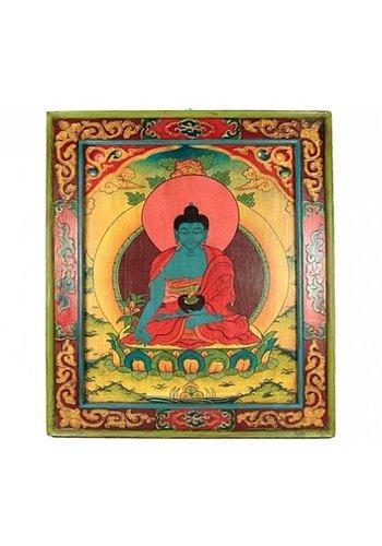 Yogi & Yogini naturals Handbeschilderd paneel hout Medicijnboeddha (56x51 cm)