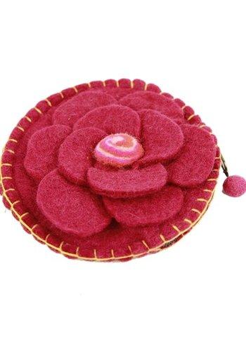 Yogi & Yogini naturals Malatasje vilt bloem roze met rits