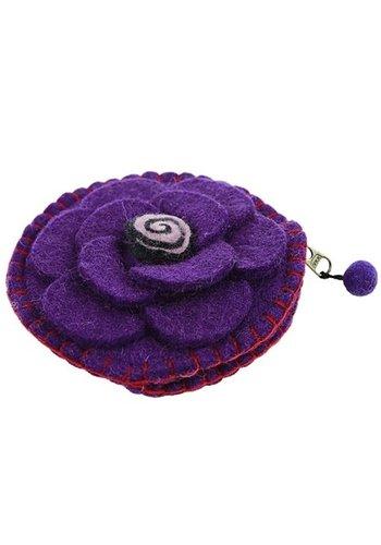 Yogi & Yogini naturals Malatasje vilt bloem paars met rits