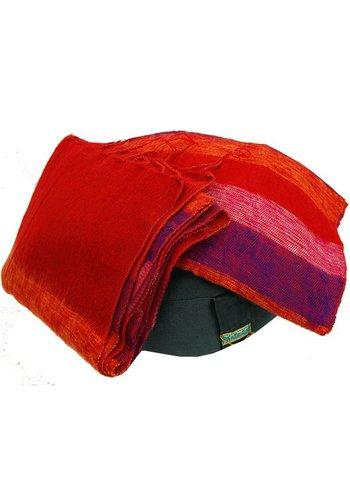 Yogi & Yogini naturals Meditatie omslagdoek rood met strepen (200x80 cm)
