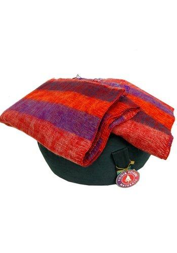 Yogi & Yogini naturals Meditatie omslagdoek paars met strepen (200x80 cm)