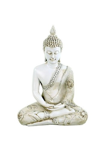 Yogi & Yogini naturals Boeddha in Meditatie wit Thailand (22x14x29 cm)