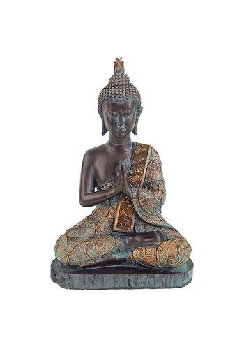 Yogi & Yogini naturals Boeddha in gebed antieke finish Thailand (15x10x23 cm)