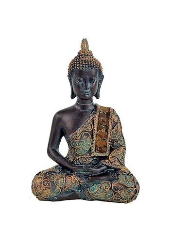 Yogi & Yogini naturals Boeddha in Meditatie antieke finish Thailand (10x6x15 cm)