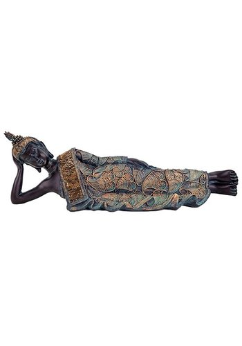 Yogi & Yogini naturals Liggende Boeddha antieke finish Thailand (37x9x11 cm)