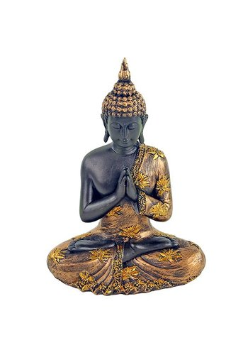 Yogi & Yogini naturals Biddende Boeddha antieke finish Thailand (17x10x23 cm)