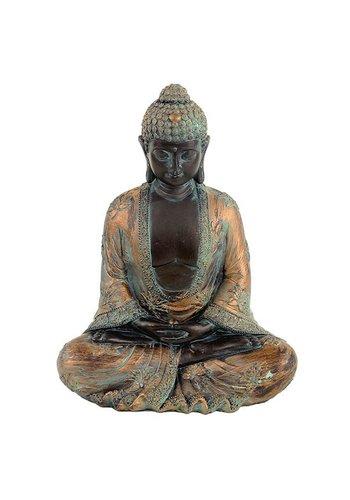 Yogi & Yogini naturals Meditatie Boeddha antieke finish Japan (19x12x24 cm)
