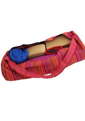 Yogi & Yogini naturals Yogamat tas katoen roze gestreept (67x24 cm)