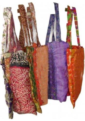Yogi & Yogini naturals Boodschappentas kwaliteit viscose sari (42x27 cm)