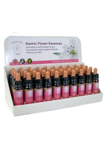 Crystal Herbs Display Karmic Flower Essences