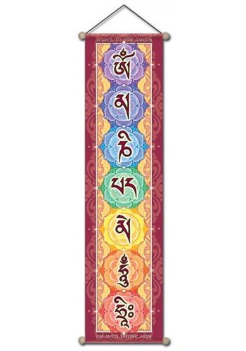 Yogi & Yogini naturals Mantra banner O.M.P.H Chenrezig klein (15x60 cm)