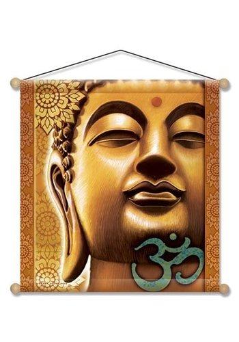 Yogi & Yogini naturals Meditatie banner Gouden Boeddha (37.5x37.5 cm)