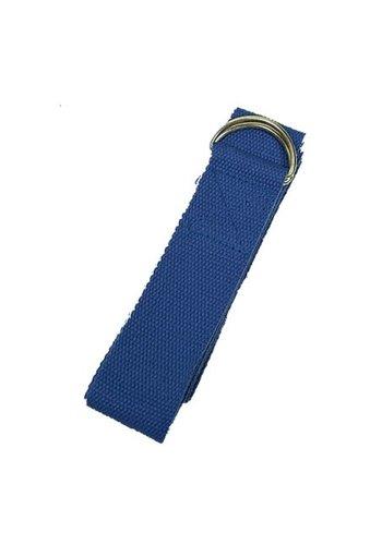 Yogi & Yogini naturals Yoga riem D-ring blauw katoen (250x3 cm)