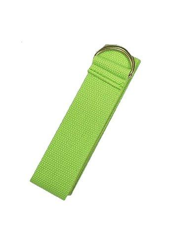 Yogi & Yogini naturals Yoga riem D-ring groen katoen (183x4 cm)