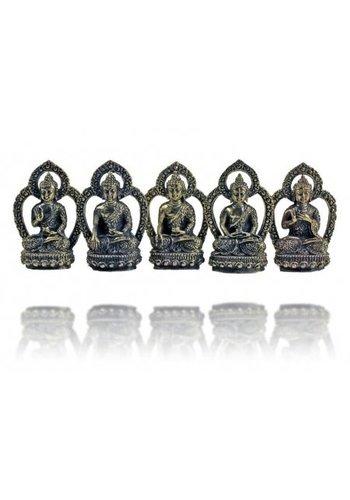 Yogi & Yogini naturals 5 Dhyani Boeddha's mini messing SET vijf -- 5x +/- 33 g; 4 c