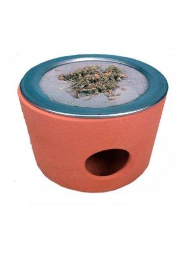Yogi & Yogini naturals Wierookbrander terracotta cup met rvs zeef (9x7 cm)