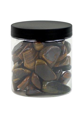 Yogi & Yogini naturals Tijgeroog trommelstenen L in transp. pot (±400 gram)