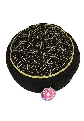 Yogi & Yogini naturals Meditatiekussen zwart/goud levensbloem opdruk (33 x 17cm)