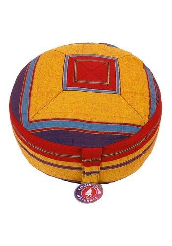 Yogi & Yogini naturals Meditatiekussen rood/oranje patroon multi (33x17cm)