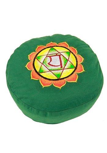 Yogi & Yogini naturals Meditatiekussen groen 4e chakra geborduurd (33x15 cm)