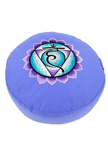 Yogi & Yogini naturals Meditatiekussen blauw 5e chakra geborduurd (33x15 cm)
