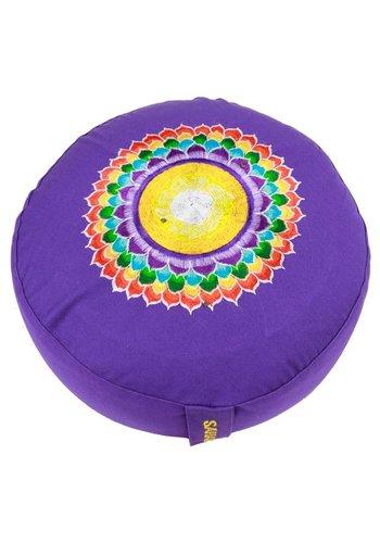 Yogi & Yogini naturals Meditatiekussen violet 7e chakra geborduurd (33x15 cm)