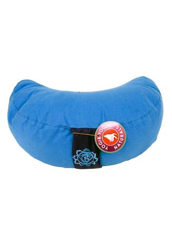 Yogi & Yogini naturals Meditatiekussen blauw 5e chakra halve maan (33x13 cm )