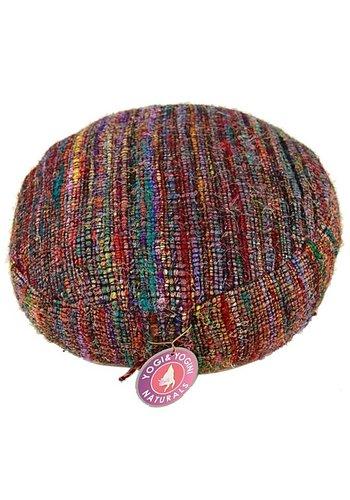 Yogi & Yogini naturals Meditatiekussen veelkleurig vintage zijde (33x17cm)