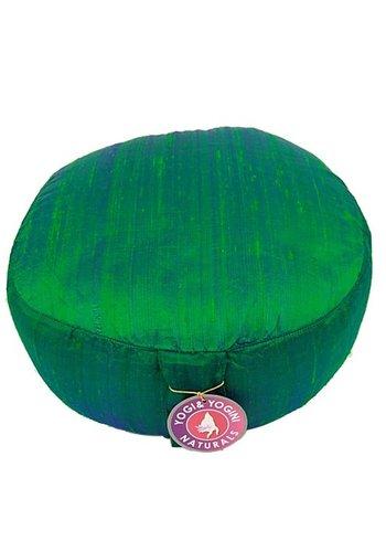 Yogi & Yogini naturals Meditatiekussen groen ruwe zijde (33x17cm)