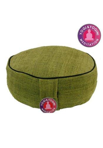 Yogi & Yogini naturals Meditatiekussen hennep groen met donkere randen (33x11 cm)