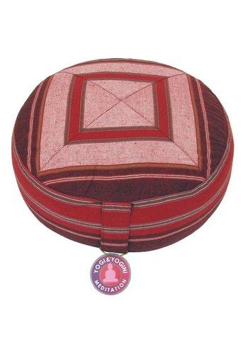 Yogi & Yogini naturals Meditatiekussen roze/rood patroon multi (33x17cm)