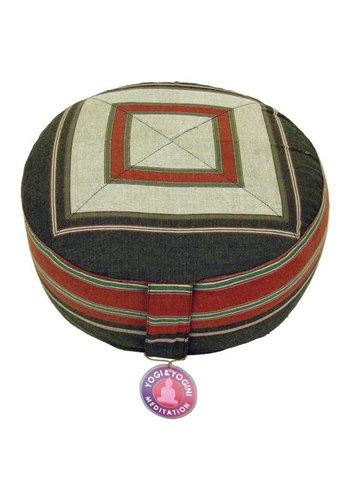 Yogi & Yogini naturals Meditatiekussen crème/rood/groen patroon multi (33x17cm)