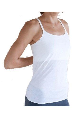 Yogi & Yogini naturals Yoga top 'Ekadasa' met open rug gebroken wit S