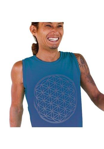 Yogi & Yogini naturals Yoga tanktop 'Flower of Life' man blauw (S)