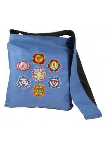 Yogi & Yogini naturals Schoudertas blauw met geborduurde chakrasymbolen