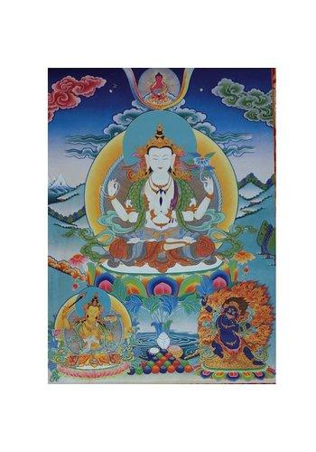 Yogi & Yogini naturals Thangka reproductie - Chenrezig 4 armen