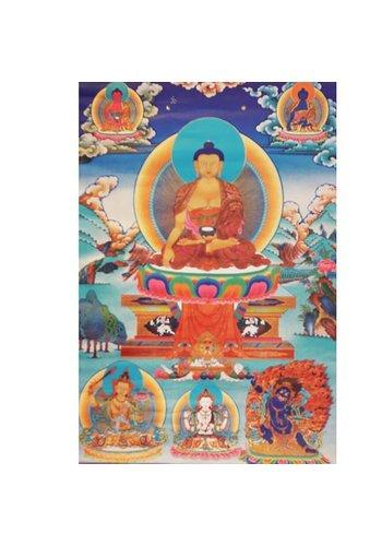 Yogi & Yogini naturals Thangka reproductie Shakyamuni, Manjusri, Chenresig&Vajrapani