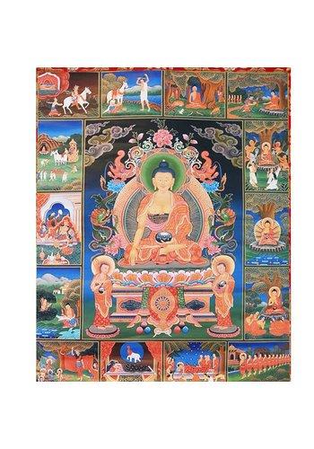 Yogi & Yogini naturals Thangka reproductie - Boeddha's levensverhaal