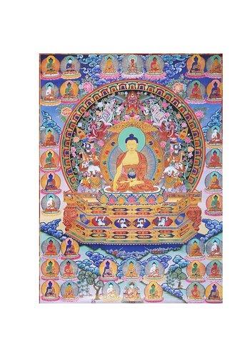 Yogi & Yogini naturals Thangka reproductie - Shakyamuni Boeddha met 35 Boeddha's