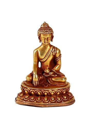 Yogi & Yogini naturals Minibeeldje Sakyamuni Boeddha goud vuur verguld (±5.5 cm)
