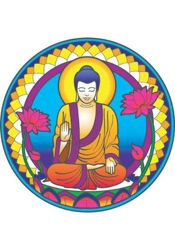 """Yogi & Yogini naturals Raamsticker """"Buddha"""" Nature (14 cm)"""