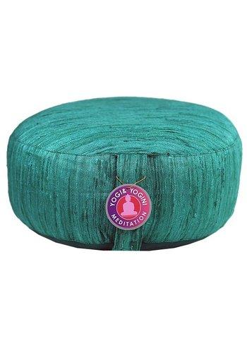 Yogi & Yogini naturals Meditatiekussen zijde smaragd groen (33x17 cm)