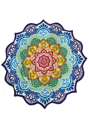 Yogi & yogini Strandlaken zeven chakra's mandala  (Ø 150 cm)