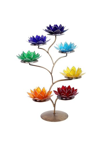 Yogi & Yogini naturals Chakra Lotus display metaal + 21 lotus sfeerlichten