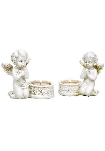 Yogi & Yogini naturals Set Engel Cupido met waxinelichthouder (10x9cm)