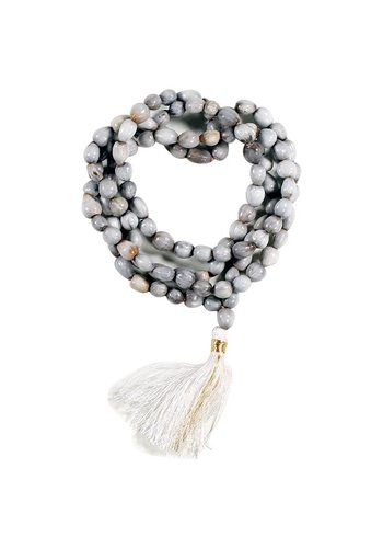 Yogi & Yogini naturals Mala Lotuszaad 108 kralen met witte kwast + tasje