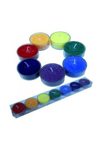 Greenpalm Chakra theelicht geurkaarsjes set cadeauverpakking (4x2cm)