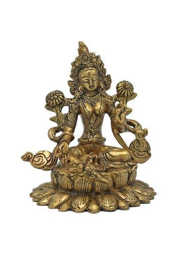 Yogi & Yogini naturals Groene Tara messing zittend op lotus