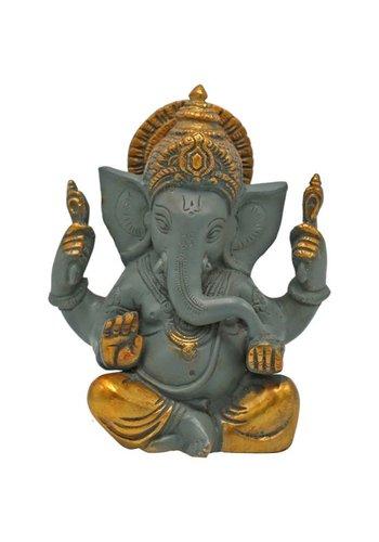 Yogi & yogini Ganesha grote oren grijs met gouden finish (14 cm)